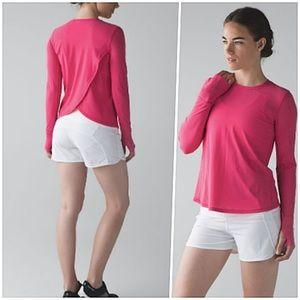 Lululemon Sunaway Runaway Long Sleeve Pink Shirt